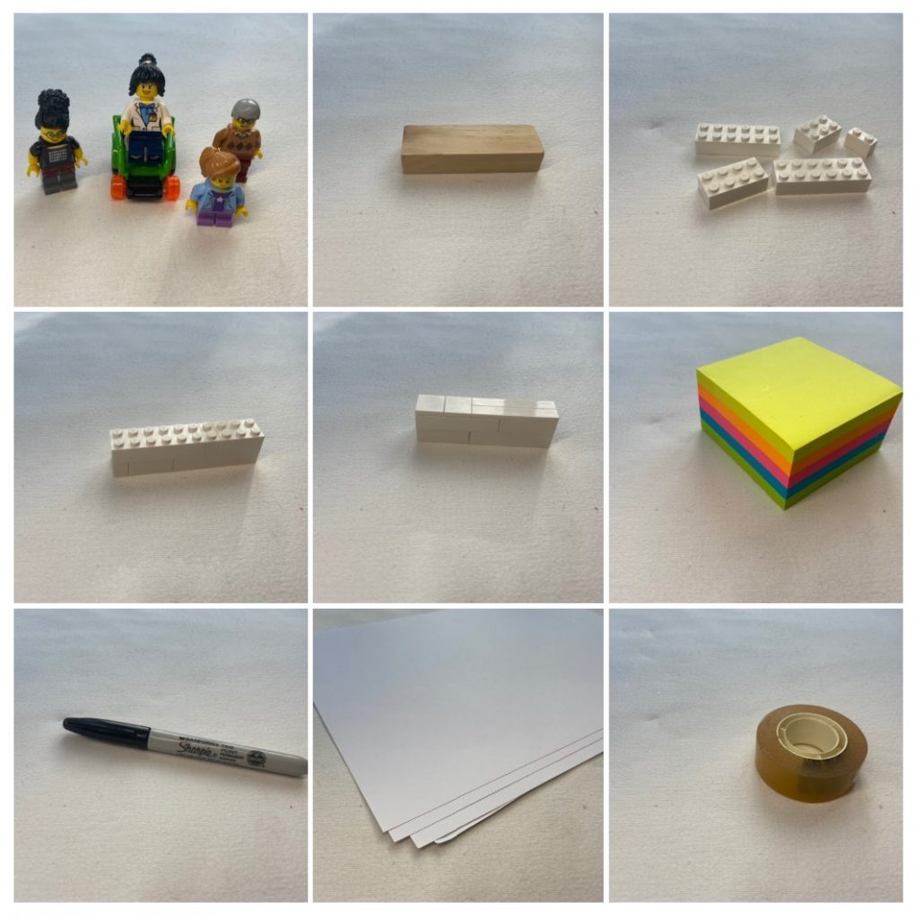 9 photos of materials including Lego minifigs, post it notes, paper, pens, sellotape, Jenga and Lego
