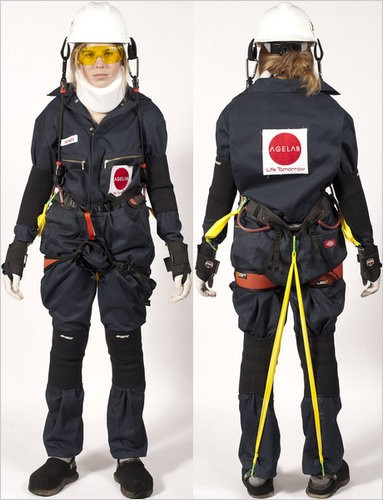 Person in ageing suit that restricts movement and sensory capacities