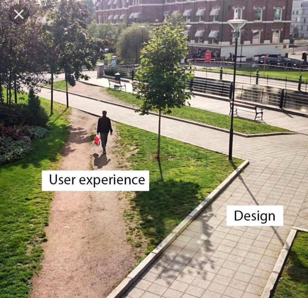 Park with paved paths but with a muddy shortcut cutting across one corner