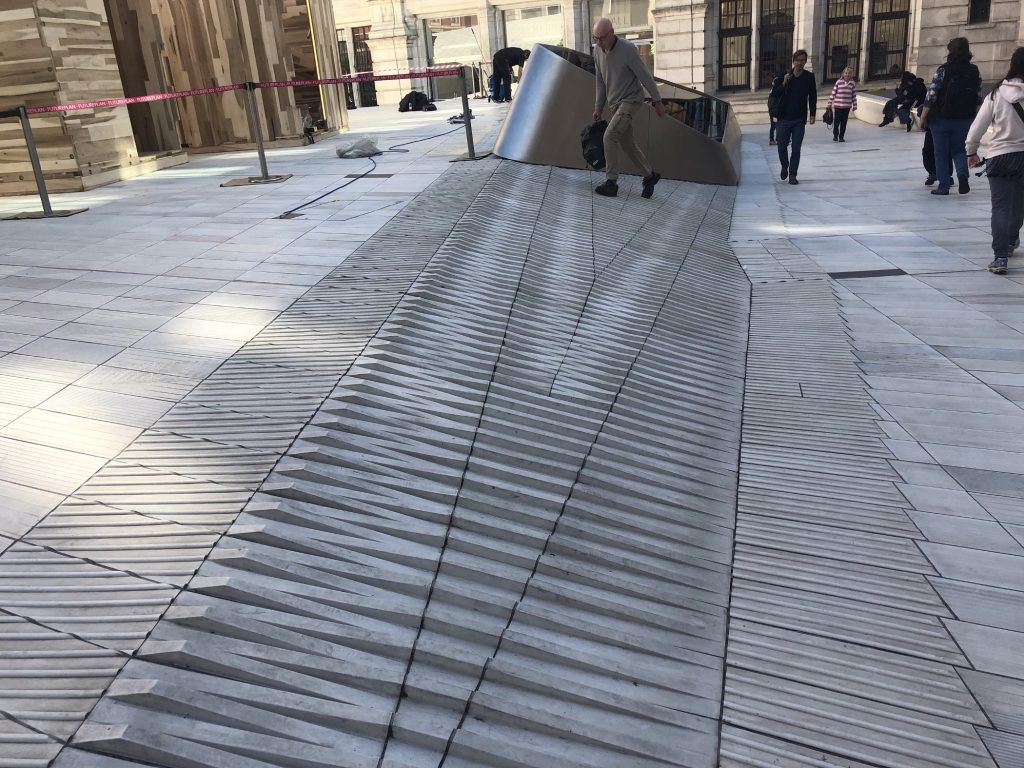 Outside the V&A a new surface treatment that is both angled and tactile