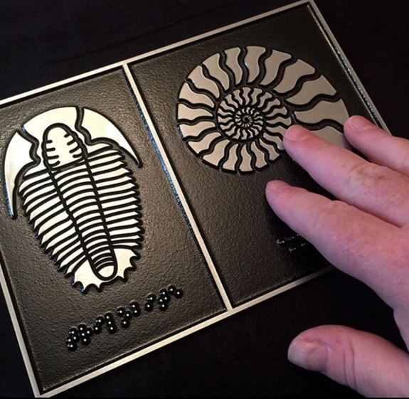 Tactile diagrams in steel with braille text