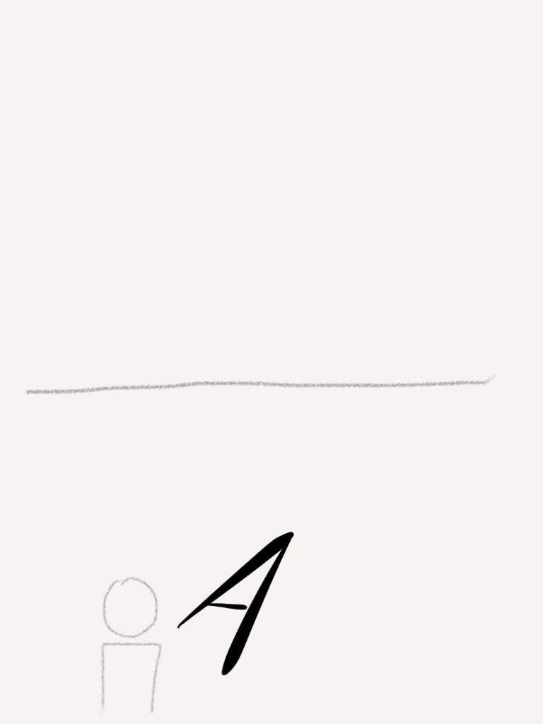 A for Aligment as arrow in fron of person