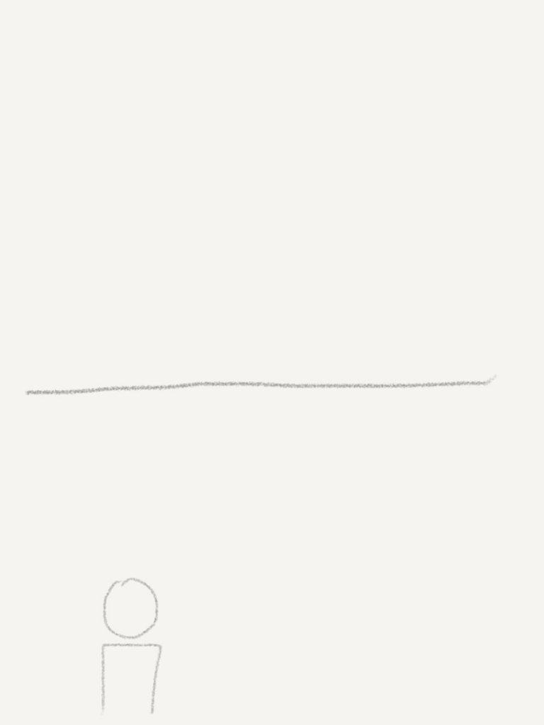 il sketch of person and horizon
