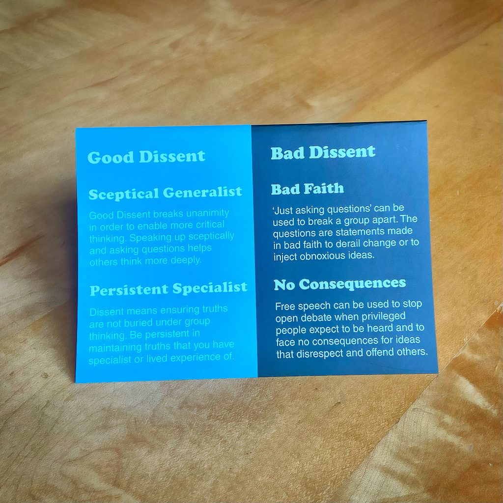 Good Dissent card with ideas od good and bad dissent