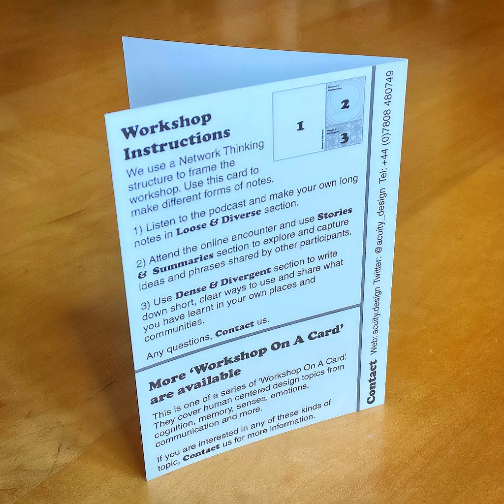 Back of all the cards is a description of the Network Thinking framework