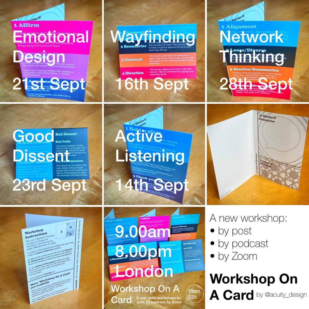Multiple photos of the workshop cards and text of dates the Zoom encounters are on