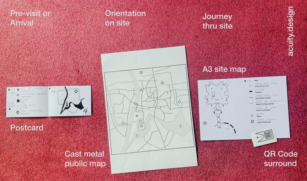 Three maps for English Heritage - small map by post, site map on arrival, detailing building guide and tactile QR codes for deeper visit information