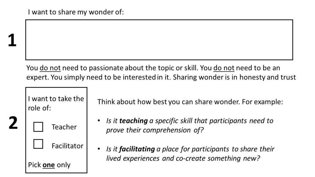 2 question survey: what do you want to share and what role do you want to take?