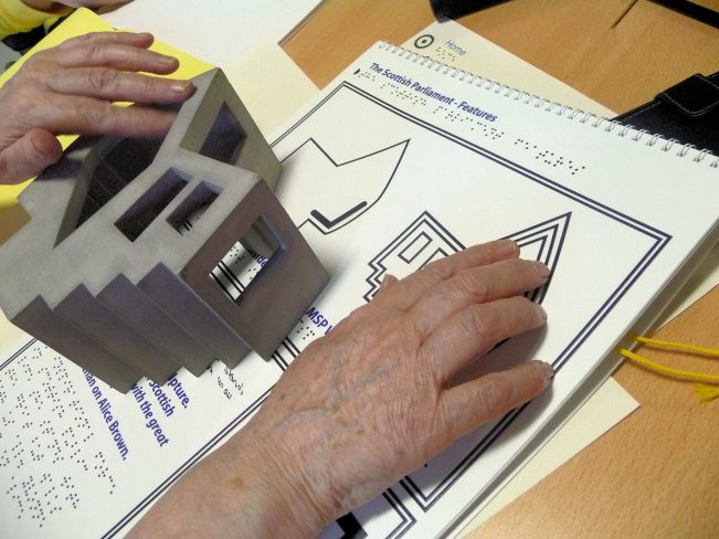 Tactile map and object being read by a blind person